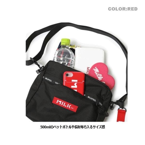MILKFED. ミルクフェド LOGO LINED SHOULDER BAG 03191004 ショルダーバッグ ブラック レッド レディース 送料無料 正規取扱店 新品