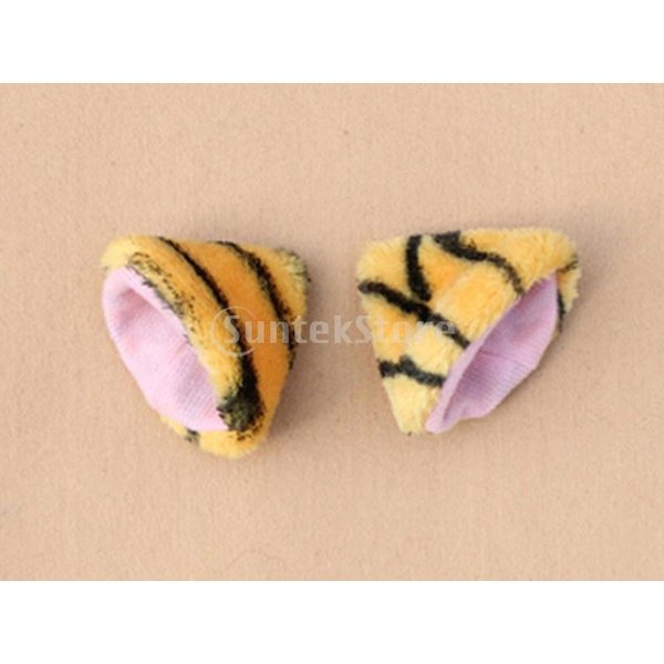 ノーブランド品 ねこみみ ネコ耳 ヘアクリップ 猫耳 コスプレ 2個セット(タイガー柄)