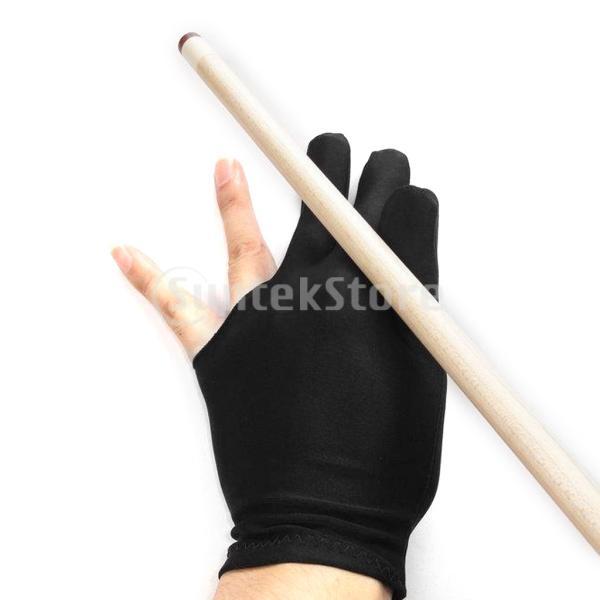 ビリヤードグローブ 3本指 両手兼用 ビリヤード手袋 伸縮 1個 ナイロン製 ブラック ビリヤード用品|stk-shop|02
