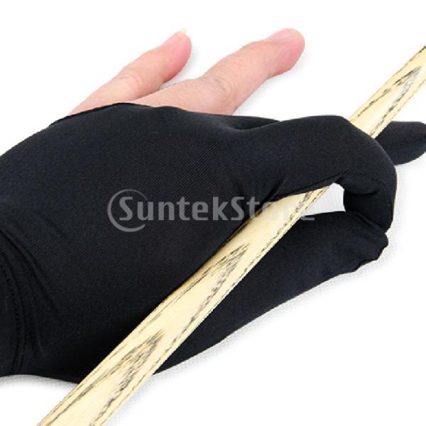 ビリヤードグローブ 3本指 両手兼用 ビリヤード手袋 伸縮 1個 ナイロン製 ブラック ビリヤード用品|stk-shop|03