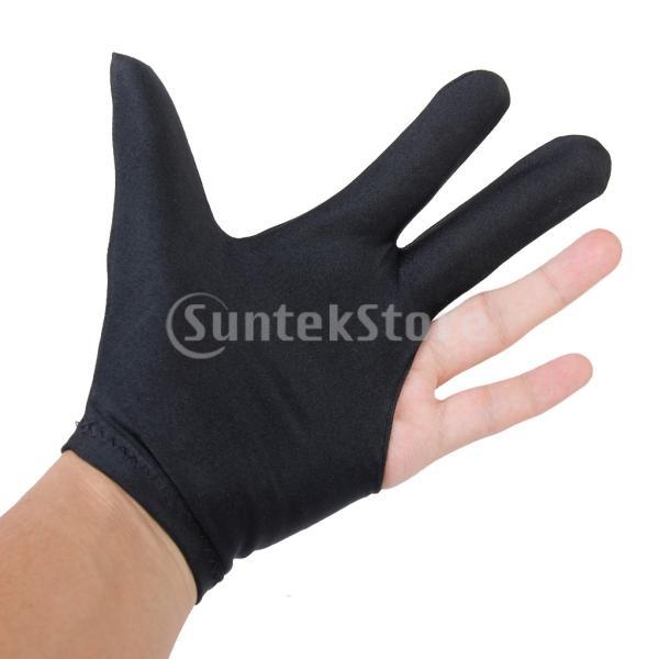 ビリヤードグローブ 3本指 両手兼用 ビリヤード手袋 伸縮 1個 ナイロン製 ブラック ビリヤード用品|stk-shop|04