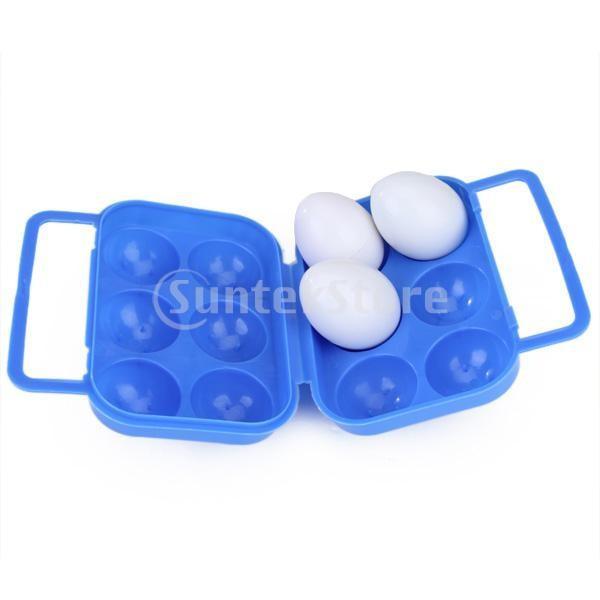 ノーブランド品 卵箱 ポータブル折りたたみプラスチックの卵キャリアホルダー収納容器6つ卵 青
