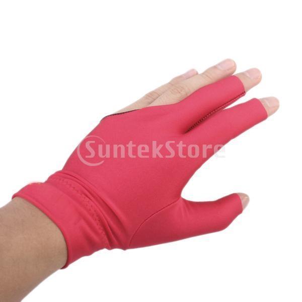 Perfk オープン指先 ビリヤードグローブ 左手用 手袋 プロ 3指 グローブ 弾性 柔軟 全4色選べる - レッド