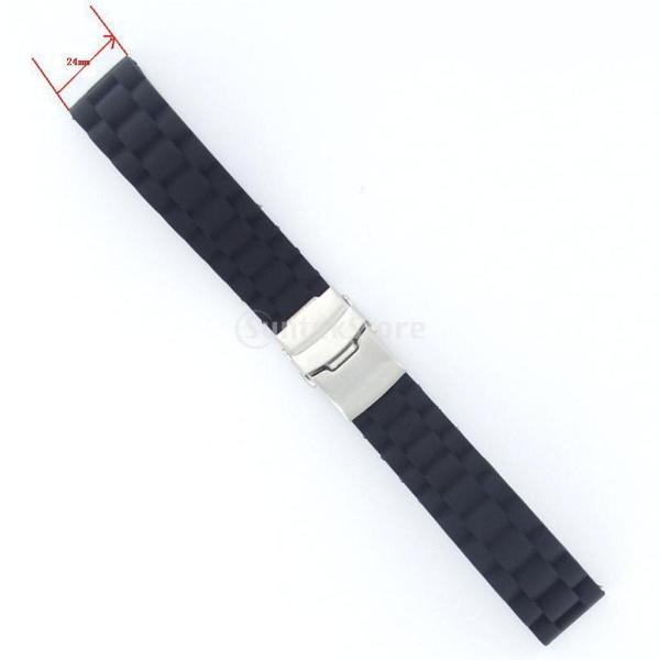 ノーブランド品時計バンド 交換ベルト シリコーンゴム  腕時計ストラップ 防水 24mm ブラック
