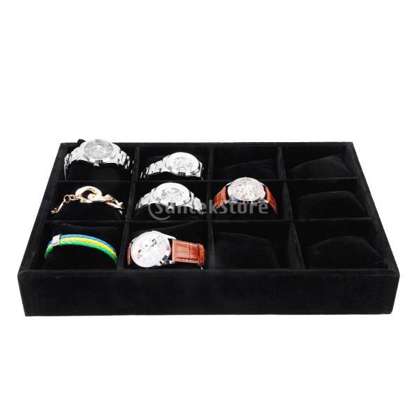 12グリッド 腕時計ディスプレ 腕時計用 ディスプレイスタンド 収納ボックス 木製+ベルベット  ブラック