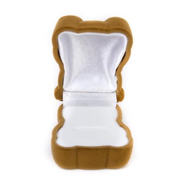 Baosity ベルベット+板紙  茶色 熊形 リングケース  指輪ケース  リングホルダー   イヤリング/リング用ボックス