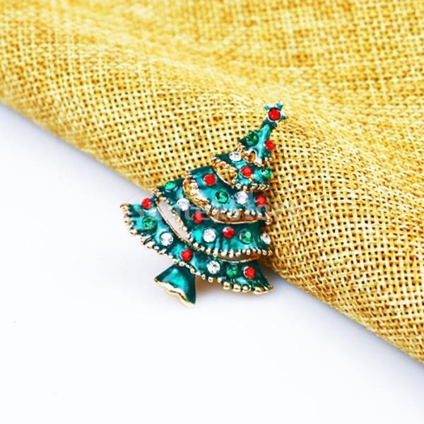 ノーブランド品クリスマス用 エナメル塗 ラインストーン付 ブローチピン クリスマスツリー型
