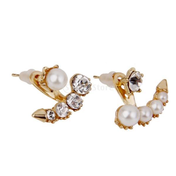 SONONIA ファッション エレガントな フェイクパール ラインストーン クリスタル 耳のスタッド ピアス 宝石類 金色