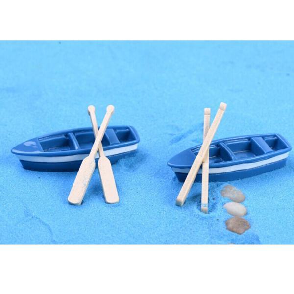 ノーブランド品ドールハウス ミニチュア マイクロ風景 小道具 盆栽 ガーデン ボート 2セット