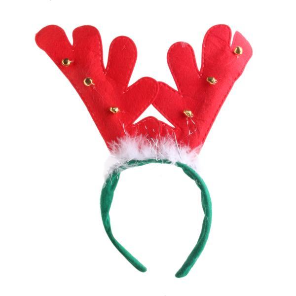 ノーブランド品 クリスマス用 パーティー 小道具 トナカイ型 ヘアバンド 鈴&羽根付