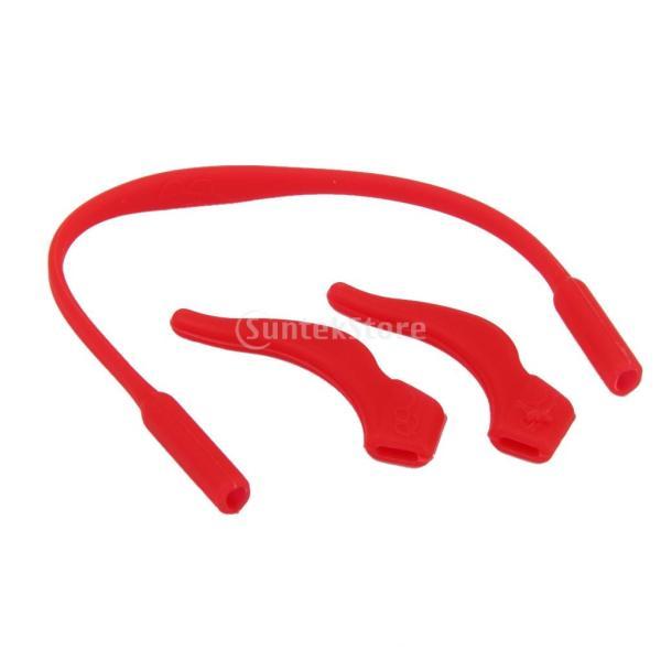 ノーブランド品 子供用 サングラス チェーン メガネ 弾性 眼鏡  おしゃれ ストラップ バンド 滑り止め付 イヤーフック ホルダー (レッド)