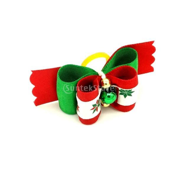 クリスマスペットの犬猫のヘアゴムバンドロープリボンの弓ビーズの毛のグルーミング|stk-shop|04