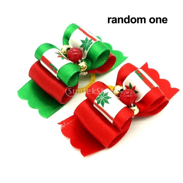 クリスマスペットの犬猫のヘアゴムバンドロープリボンの弓ビーズの毛のグルーミング|stk-shop|05