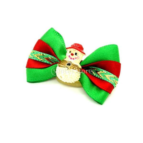 ノーブランド品ペット 犬用 クリスマス ヘアリボン ヘアアクセサリー 犬 猫 雪だるま stk-shop