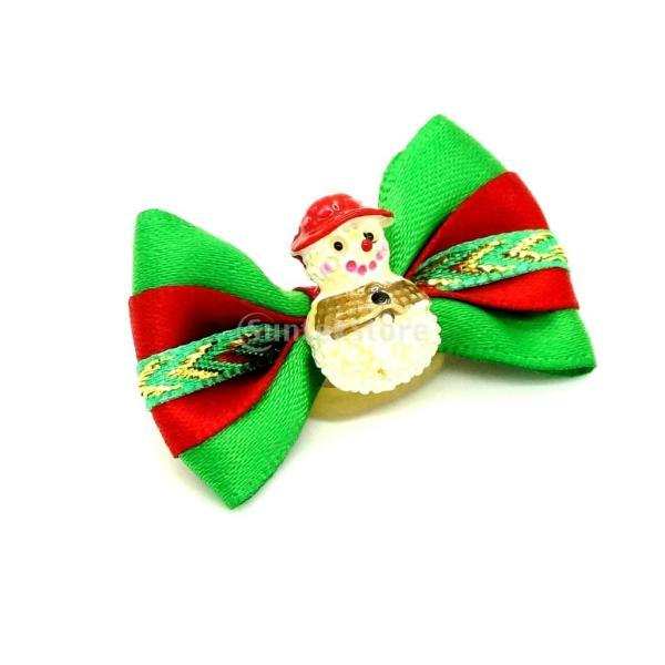ノーブランド品ペット 犬用 クリスマス ヘアリボン ヘアアクセサリー 犬 猫 雪だるま stk-shop 02