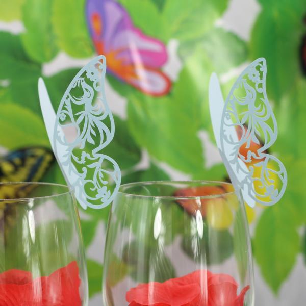 ノーブランド品 結婚式 パーティー クリスマス テーブル ワイン グラス カード  メッセージ用カード 席札  装飾  蝶型 50枚 青