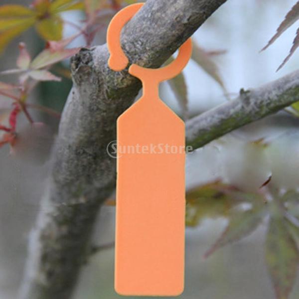 ノーブランド品 プラスチック タグ マーカー ガーデニングラベル ぶら下げ 植物のラベル 温室園芸植物ラベル PPラベル 植物タグ 100個 オレンジ|stk-shop|06