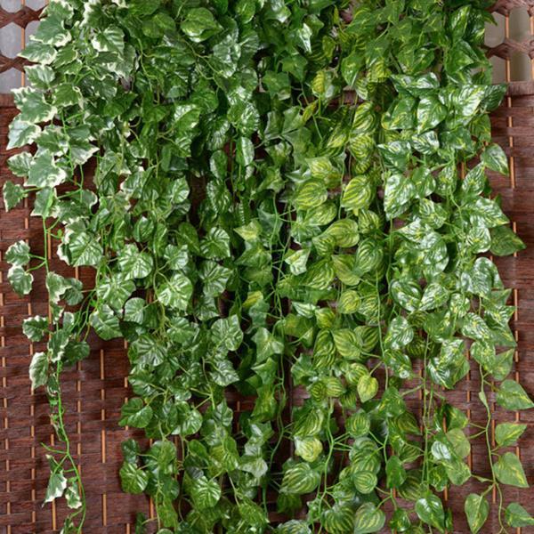 Sononia プラスチック製 2個 人工 壁掛け ツタつる シルク 観葉 植物 装飾 ブドウ葉 結婚式 パーティー