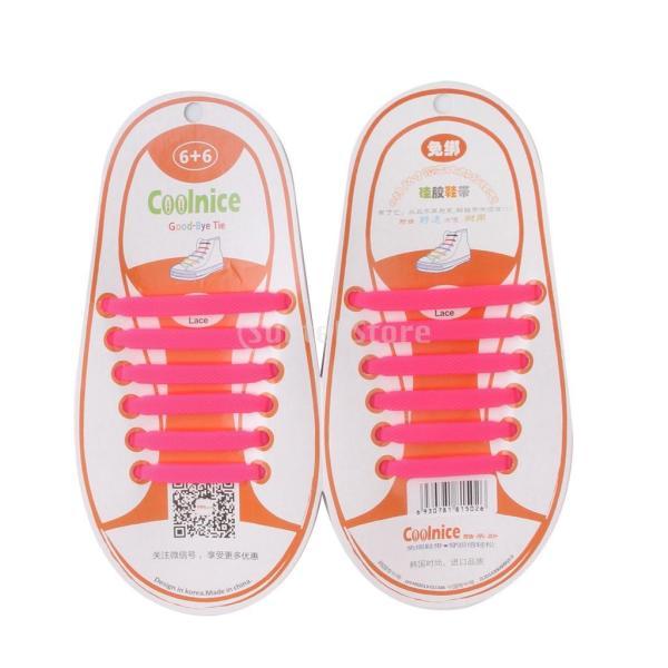 Perfk 全8色 子供用 シリコンゴム製 結ばない靴ひも   ユニセックス - ピンク