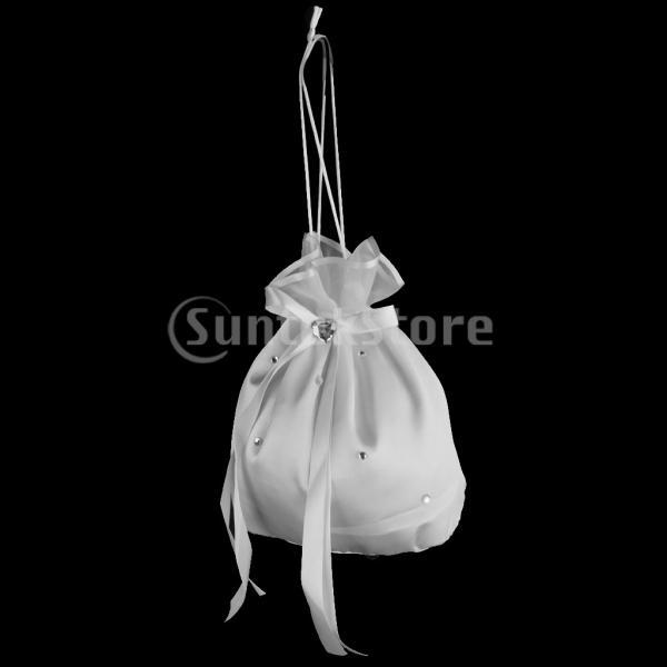 ノーブランド品 結婚式 ウェディング用 サテン製 ラインストーン付 ドリーバッグ ハンドバッグ 小物 二次会 花嫁バッグ 袋 福袋 (ホワイト)