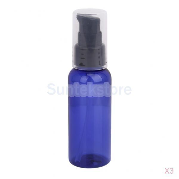 【ノーブランド品】50mlスプレーボトル、携帯用小分けボトル、 化粧品容器/ ブルー/ 3個入り|stk-shop