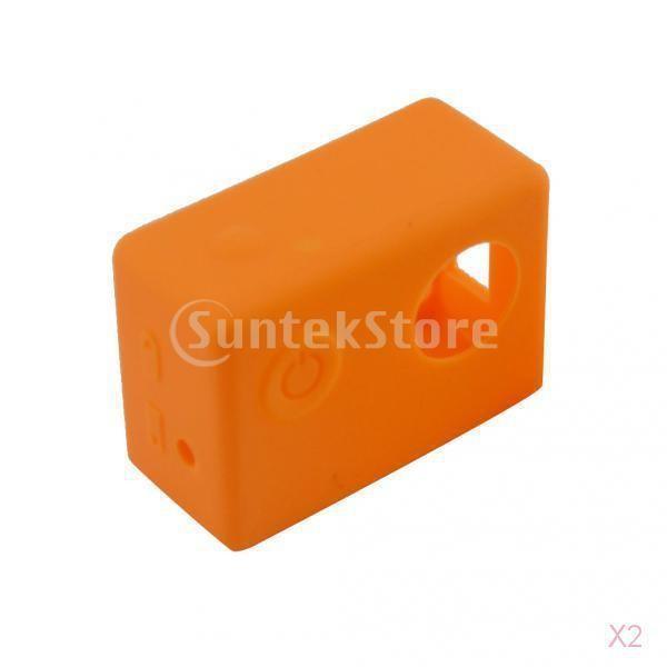 柔らかいシリコーン防塵sjcam sj4000のsj5000オレンジ用の保護ケーススキン