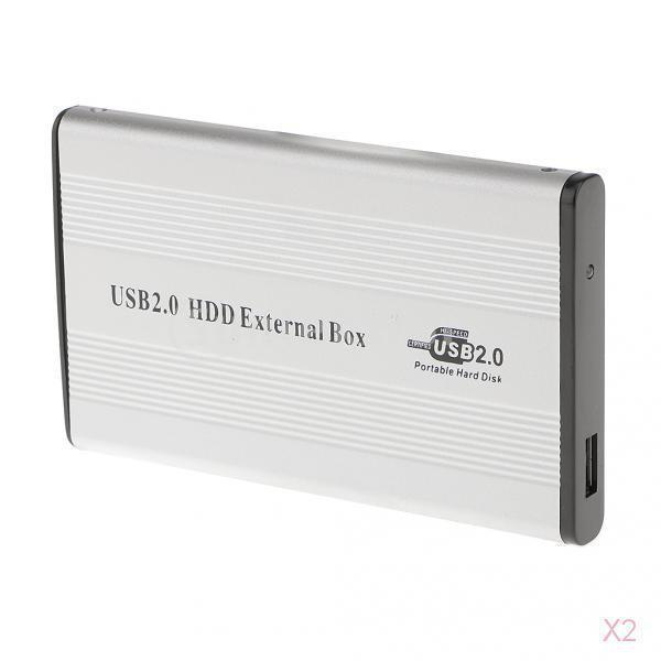 ノーブランド品 2セット USB2.0  IDE外部 2.5イン SSD HDD ハードドライブケース  キット スクリュードライバー - グレー|stk-shop