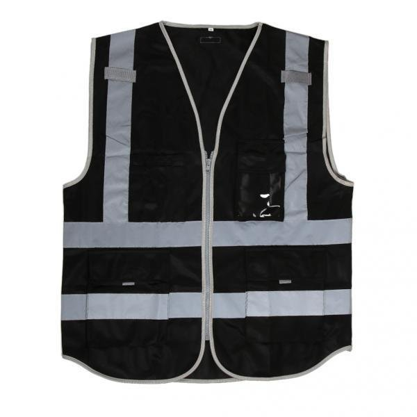 ノーブランド 品 2pcs 夜間作業服 高視認性 安全ベスト 反射テープ ストリップ ジッパー 4ポケット付き 黒