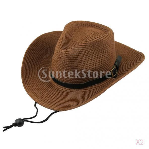 キッズ 男の子 西部 カウボーイ 太陽の帽子 キャップ ストローハット ギフト コーヒー わら 2個|stk-shop