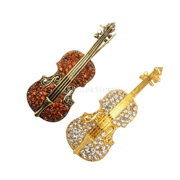 KOZEEY 2個入り ブローチ ピン 女性 音楽 キラキラ ラインストーン 秋冬最適 バイオリンの形 魅力 行事 衣類用アクセサリー