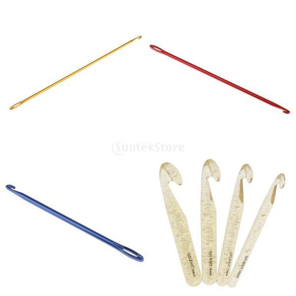 通用サイズ レース針 ハンドル ニット 帽子 マフラー かぎ針編み 編み物針 7点/セット