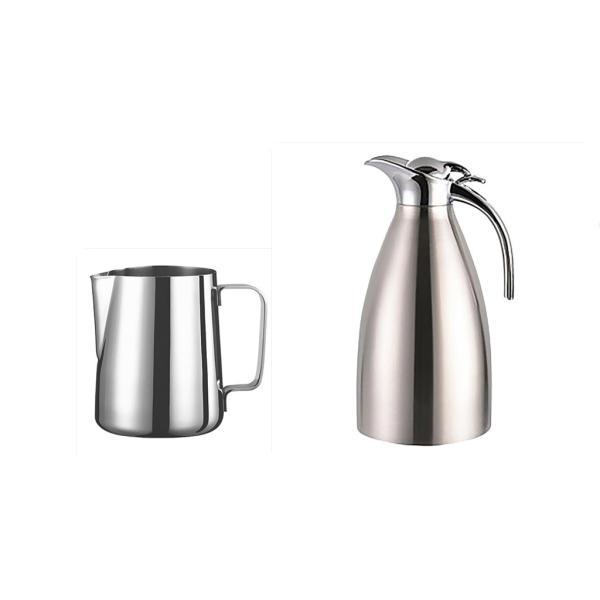 2個 真空断熱 コーヒーポット 保温冷水ボトル テーブル ポット 魔法瓶 と ステンレススチール製 大容量 ミルク泡立てジャグ ミルク泡立て器|stk-shop