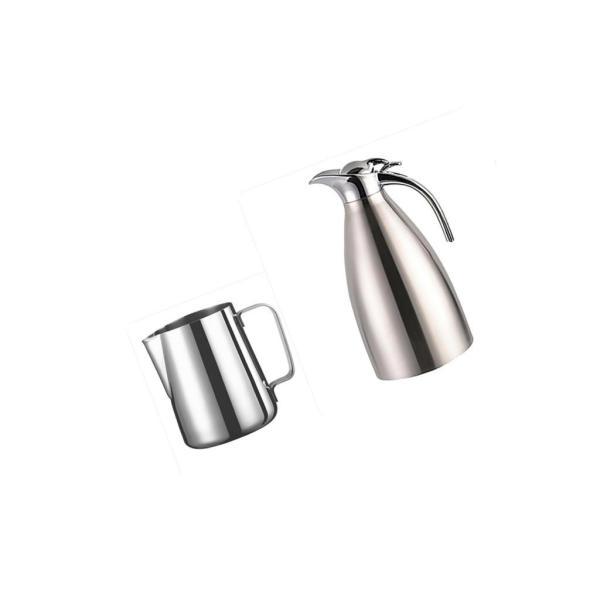 2個 真空断熱 コーヒーポット 保温冷水ボトル テーブル ポット 魔法瓶 と ステンレススチール製 大容量 ミルク泡立てジャグ ミルク泡立て器|stk-shop|09
