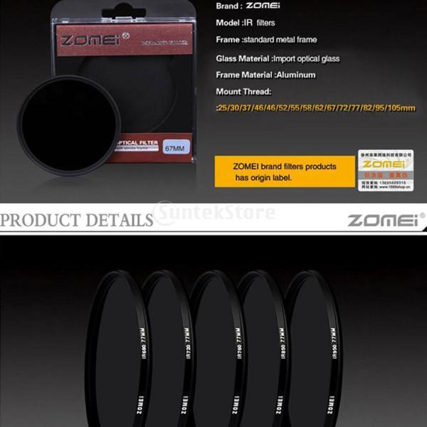 Perfk カメラ光学ガラス適応 ゾーメイ37mm 680NM 720NM赤外線X線IRフィルター 超薄型 アクセサリー
