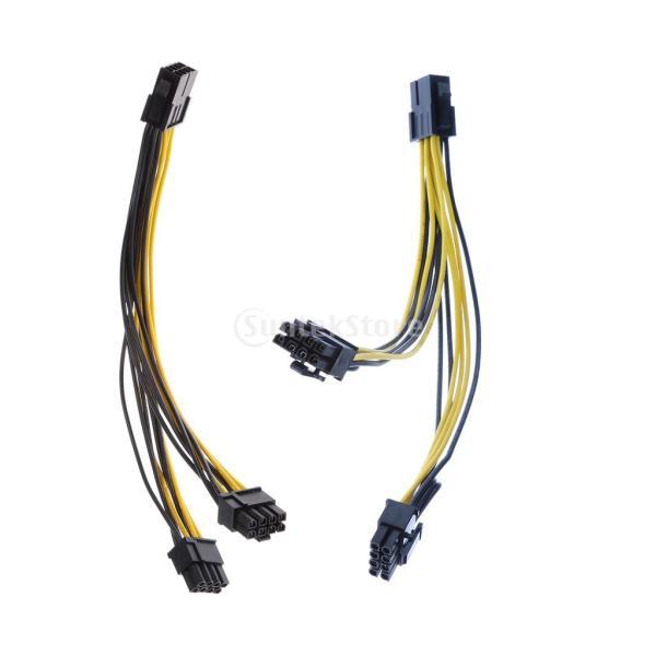 Dovewill 2ピース 6ピン→2x PCIE 8ピン 2ピース 8ピン→ 2x PCIE 8ピン 延長ケーブル ビデオカード延長ケーブル