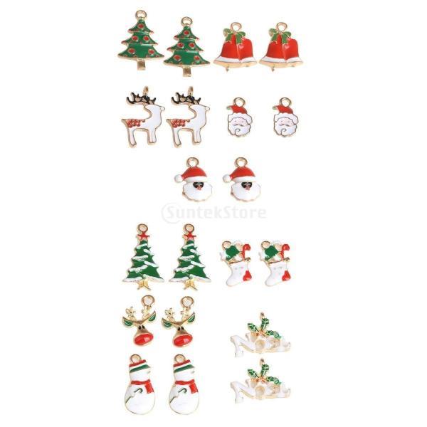 約20個 可愛い クリスマスシリーズ ジュエリー DIYジュエリー エナメル製 冬雰囲気 ペンダント チャーム 手作り飾り アクセサリー