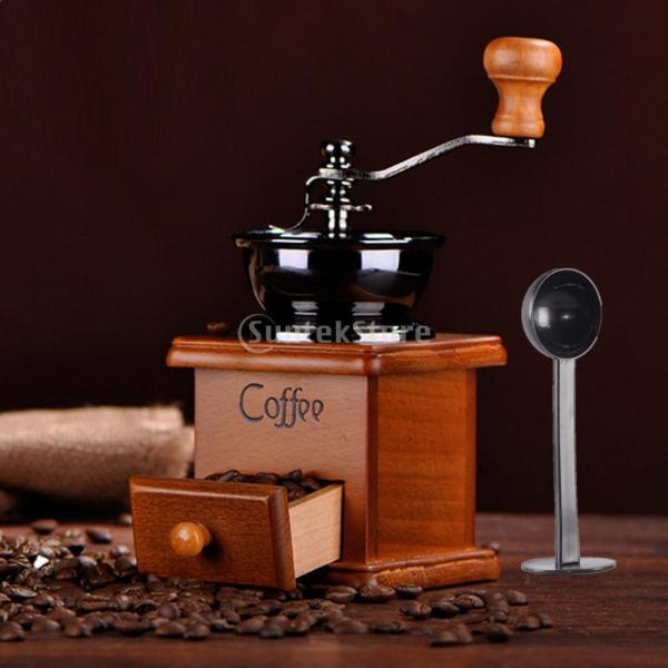 コーヒーミル スプーン付き 手動 手挽き 木製 手動ミル アンティーク調 コーヒー豆の香りを楽しみ|stk-shop|12