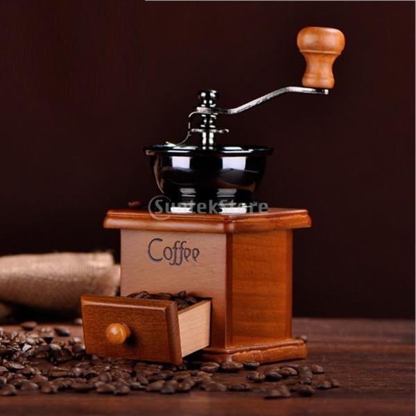 コーヒーミル スプーン付き 手動 手挽き 木製 手動ミル アンティーク調 コーヒー豆の香りを楽しみ|stk-shop|04