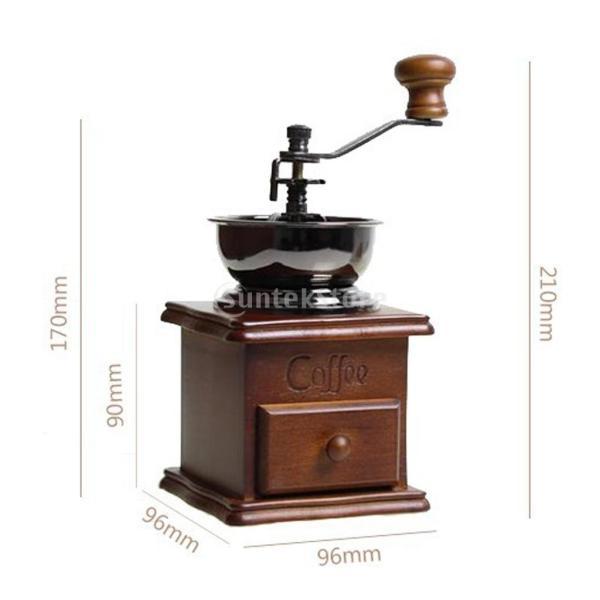 コーヒーミル スプーン付き 手動 手挽き 木製 手動ミル アンティーク調 コーヒー豆の香りを楽しみ|stk-shop|05