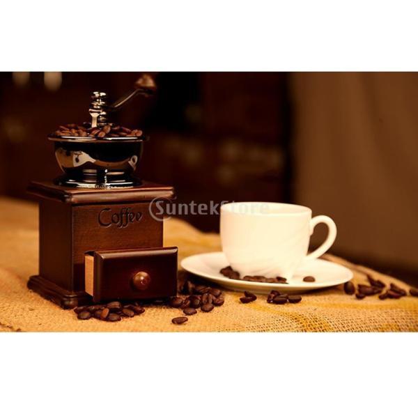 コーヒーミル スプーン付き 手動 手挽き 木製 手動ミル アンティーク調 コーヒー豆の香りを楽しみ|stk-shop|08