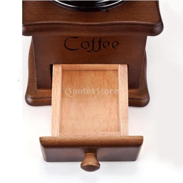コーヒーミル スプーン付き 手動 手挽き 木製 手動ミル アンティーク調 コーヒー豆の香りを楽しみ|stk-shop|09