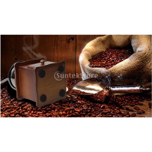 コーヒーミル スプーン付き 手動 手挽き 木製 手動ミル アンティーク調 コーヒー豆の香りを楽しみ|stk-shop|10