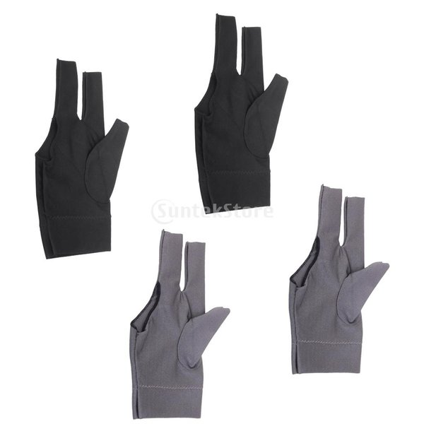 プロフェッショナル ビリヤード 左 3フィンガー グローブ 専用手袋 ブラックとグレー 4枚セット|stk-shop