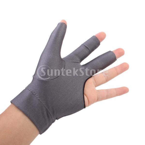 プロフェッショナル ビリヤード 左 3フィンガー グローブ 専用手袋 ブラックとグレー 4枚セット|stk-shop|02