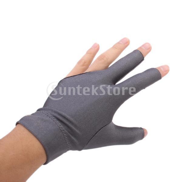 プロフェッショナル ビリヤード 左 3フィンガー グローブ 専用手袋 ブラックとグレー 4枚セット|stk-shop|03