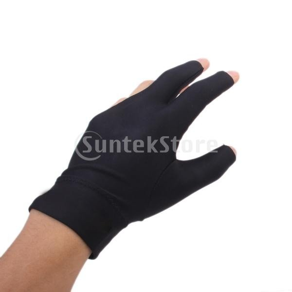 プロフェッショナル ビリヤード 左 3フィンガー グローブ 専用手袋 ブラックとグレー 4枚セット|stk-shop|06