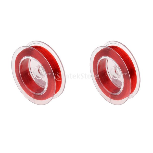 Fenteer 2個セット ナイロン製 バッキング ライン フライフィッシング シンキング ライン 編組 線 フライ ライン 全2色 - 赤