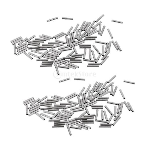 SunniMix 約200個セット シングル バレル クリンピング ループ スリーブ 様々なサイズ 1.0mm〜 2.0mm  全4サイズ - 1.2x8mm