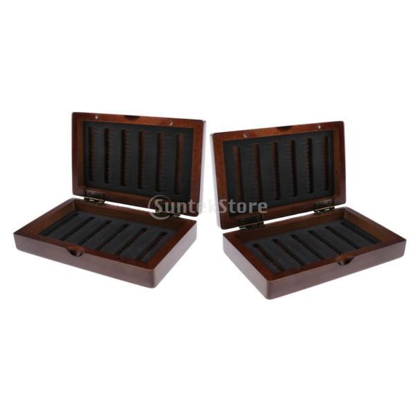 木製ケース 乾燥保つ ルアーボックス 釣りアクセサリー フィッシングボックス タックルボックス 2個入り
