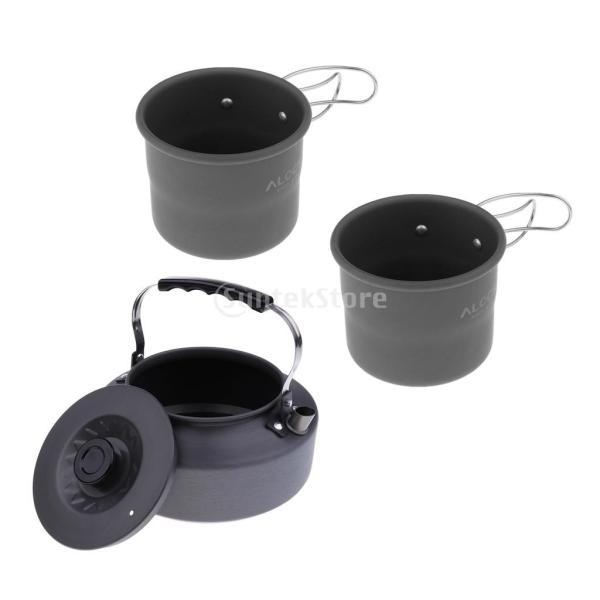 アルミ合金 1600ml アウトドア キャンプ ハイキング用 茶ケトル コーヒーポット 150ml  カップ マグカップ |stk-shop
